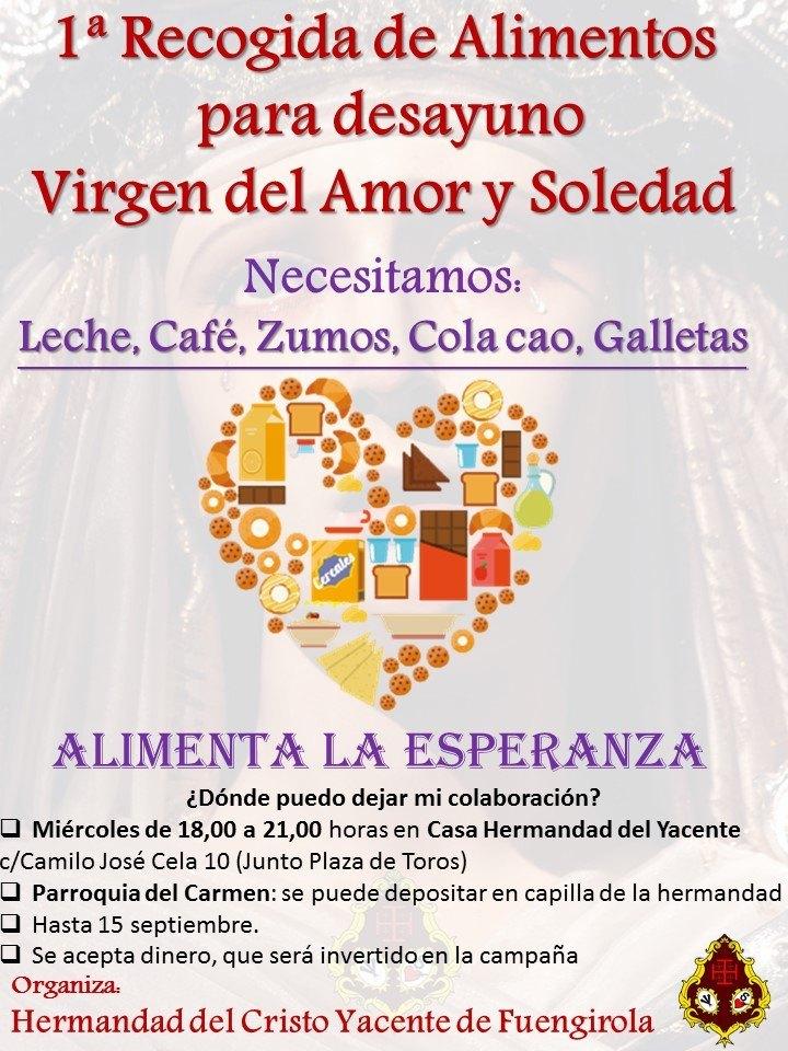 1ª Recogida de alimentos Virgen del Amor y Soledad