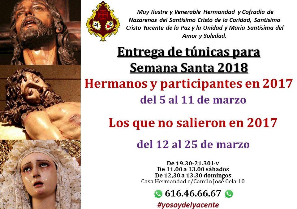 Entrega de túnicas Semana Santa 2018